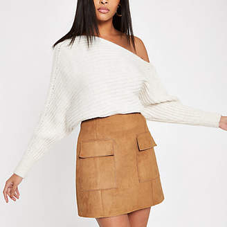 River Island Womens Light Brown suede mini skirt
