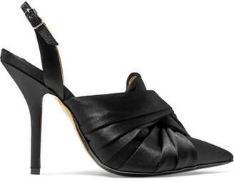 No.21 No. 21 - Knotted Satin Slingback Pumps - Black