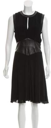 L'Agence Leather-Trimmed Midi Dress