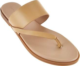 da355460086405 at QVC · Halston H By H by Leather Sandals with Wooden Accent - Addie
