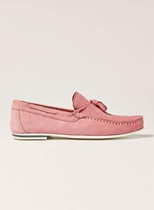 Topman Pink Suede 'Stone' Tassel Loafers