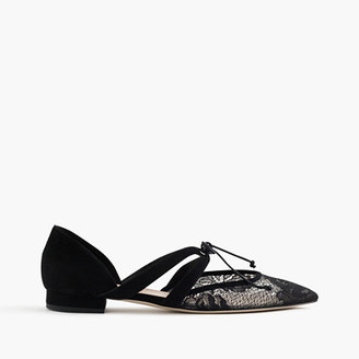 Tie-front flats in lace and suede $148 thestylecure.com