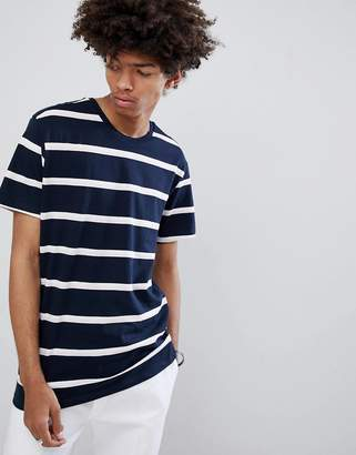 Bershka Stripe T-Shirt In Navy And White