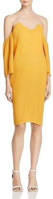 Elliatt Marigold Pleated Off-the-Shoulder Dress $180 thestylecure.com