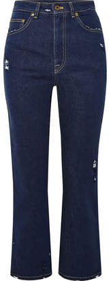 Miu Miu Cropped Distressed Lace-trimmed High-rise Flared Jeans - Blue