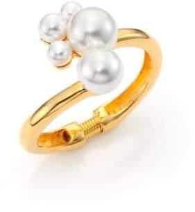 Kenneth Jay Lane Faux Pearl Cluster Hinge Bracelet
