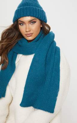 PrettyLittleThing Green Neon Ribbed Knit Scarf