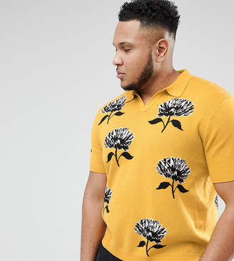 Asos DESIGN Plus Knitted Revere Collar Polo In Mustard With Floral Jacquard