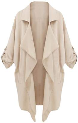 Zimaes-Women Zimaes Womens Oversized Fashion Lapel Solid Color Trench Jacket L