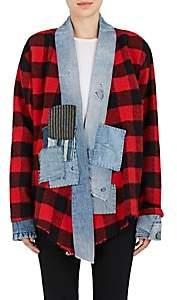 "Greg Lauren Women's ""Vintage"" Checked Wool-Blend Kimono - Red"