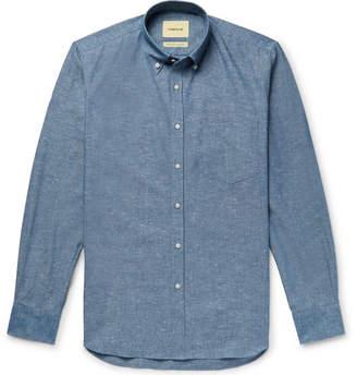 De Bonne Facture Button-Down Collar Slub Cotton-Chambray Shirt