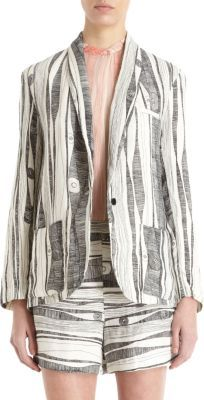 Raquel Allegra Abstract Line Print One-Button Blazer