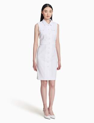 Calvin Klein cotton stretch button-front shirt dress
