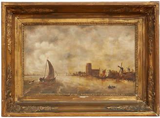 Rejuvenation Traditional Dutch Seascape w/ Original Ornate Frame