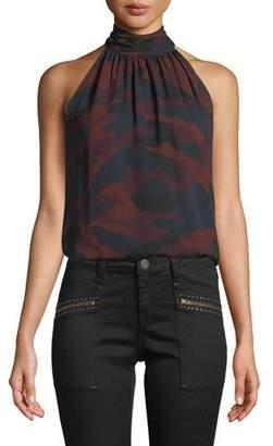 Joie Erola B Sleeveless Camo-Print Silk Top