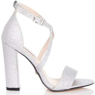 Dorothy Perkins Womens *Quiz Silver Glitter Heel Sandals