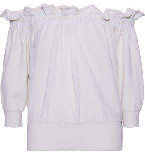 3.1 Phillip Lim Off-The-Shoulder Ruffle-Trimmed Waffle-Knit Sweater