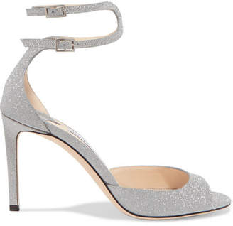 Jimmy Choo Lane 85 Glittered Leather Sandals - Silver