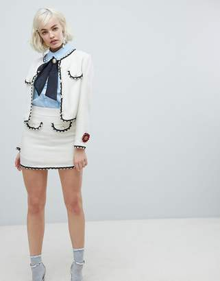 Sister Jane mini skirt with pearl trims in tweed co-Ord