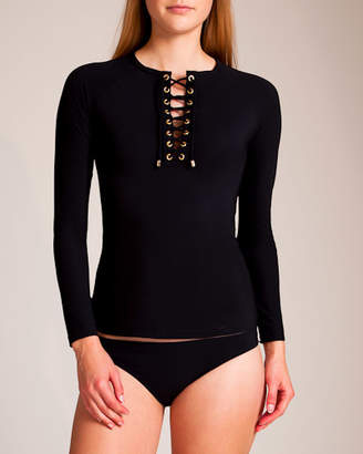 Karla Colletto Basic Lace-up Rash Guard Bikini