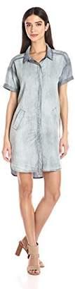 Michael Stars Women's Linen Denim Tencel Short Sleeve Shirt Dress