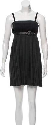 Dolce & Gabbana Leather-Accented Pleated Dress