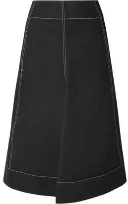 Lemaire Pleated Denim Midi Skirt - Black