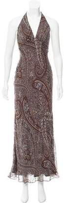 Carmen Marc Valvo Beaded Paisley Print Dress