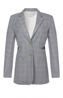 Tibi Cooper Silk Wool Cut Out Blazer