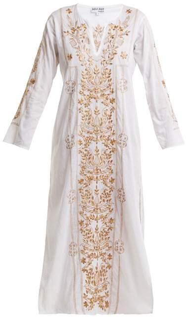 Sequin-embellished embroidered cotton kaftan