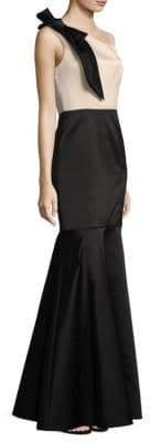 Shoshanna One-Shoulder Bow Mermaid Gown