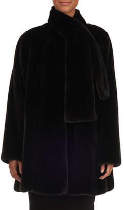 Oscar de la Renta Tie-Neck Mink Fur Stroller Jacket, Black