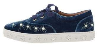 Aquazzura Embellished Velvet Sneakers