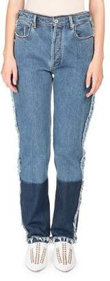 Acne Studios Mirja High-Waist Straight-Leg Two-Tone Denim Jeans w/ Contrast Hem
