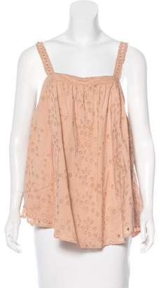 Hatch Embroidered Sleeveless Top