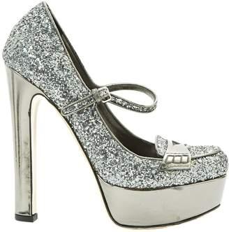 Miu Miu Grey Glitter Heels