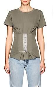 NSF Women's Jorji Corset-Detailed Cotton T-Shirt-Gray