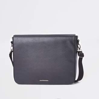 River Island Black flapover satchel bag