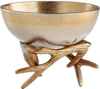 """Cyan 6"""" Anchored Antler Bowl - Gold/Nickel"""