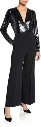 Stella McCartney Long-Sleeve Sequined V-Neck Jumpsuit
