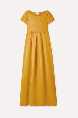 Co Oversized Gathered Woven Maxi Dress - Saffron