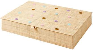 Rice ラフィア カトラリーボックス ポルカドット アソート ナチュラル