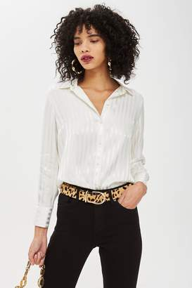 Topshop Womens Striped Shirt - Ivory