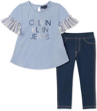 cce4e6578d Calvin Klein Toddler Girls 2-Pc. French Terry Tunic   Denim Leggings Set