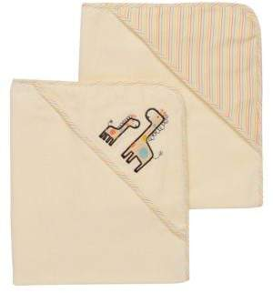 Little Me Baby's Two-Pack Giraffe Velour Hooded Towels