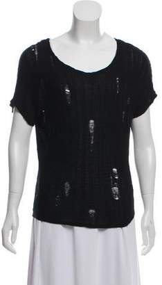 L'Agence Distressed Short Sleeve Top