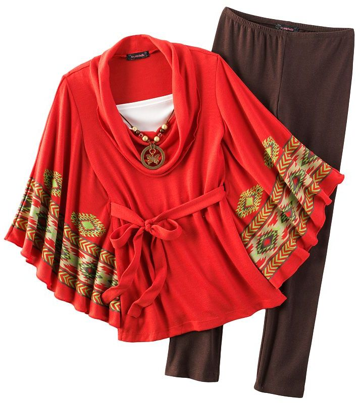 My Michelle mock-layer geometric poncho top and leggings set - girls 7-16