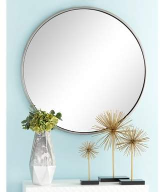 """CosmoLiving by Cosmopolitan CosmoLiving Large Round Contemporary Wall Mirror in Metallic Silver Frame   36"""" x 36"""""""