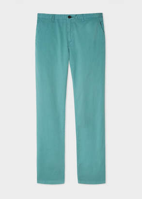 Paul Smith Men's Slim-Fit Turquoise Stretch Pima-Cotton Chinos