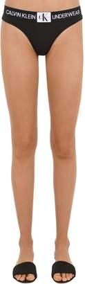 Calvin Klein Underwear Logo Cotton Jersey Thong